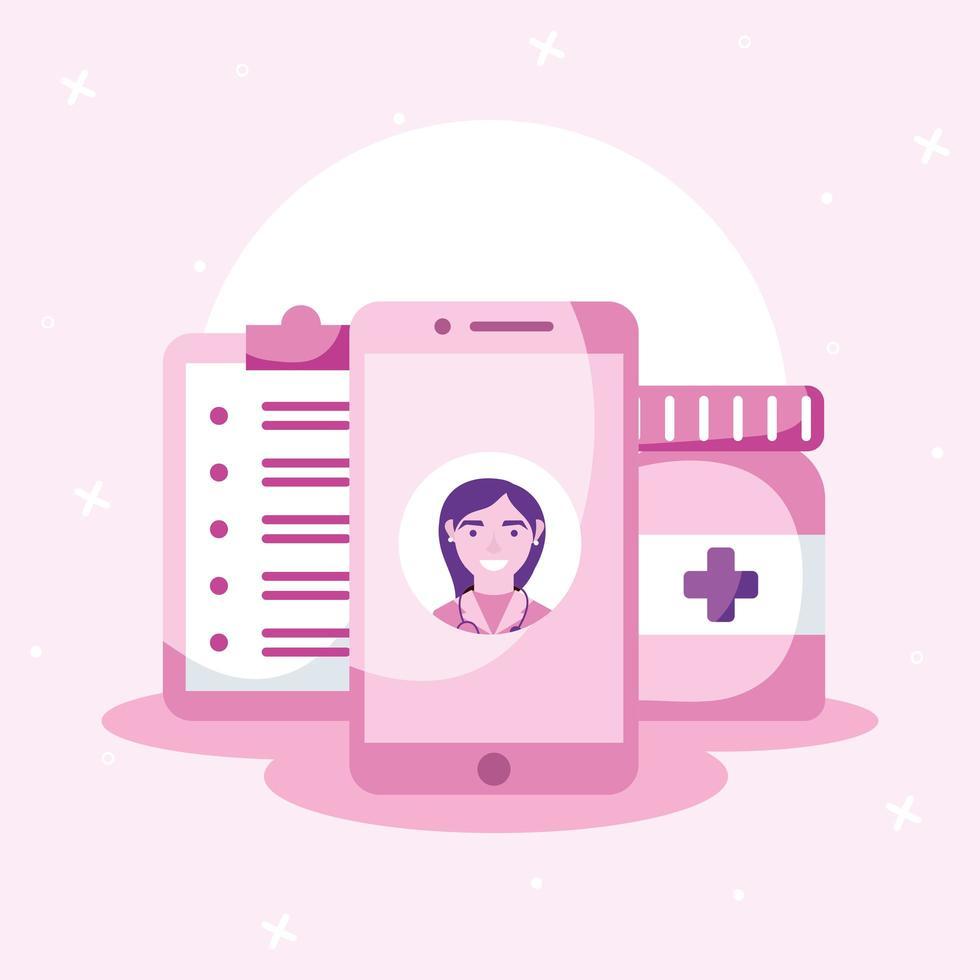 online vrouwelijke arts over smartphonegeschiedenis en vectorontwerp van pillenpot vector