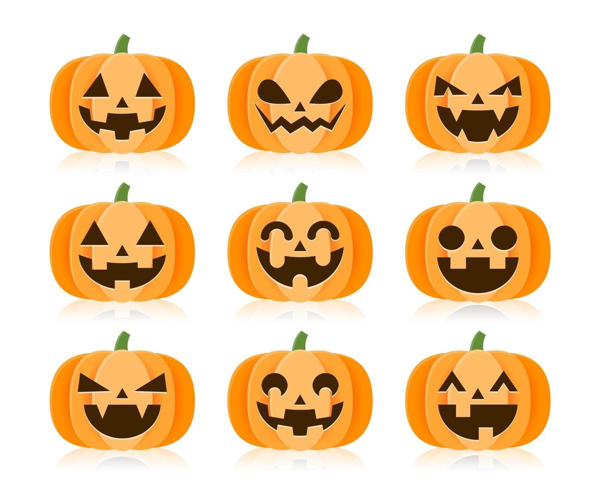 set cartoon halloween pompoenen vector