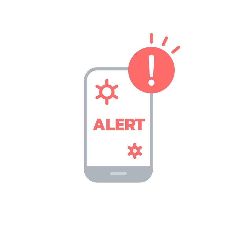 waarschuwingspictogram voor coronavirus van smartphone vector