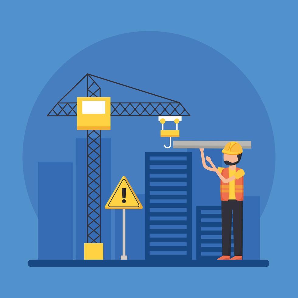 bouwman met helm en kraan bij stads vectorontwerp vector