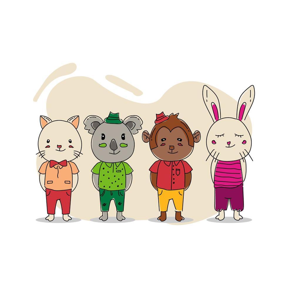 hand getrokken illustratie baby dier karakter ontwerp geïsoleerd op een witte achtergrond vector