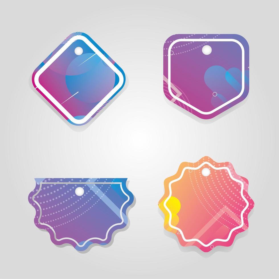 commerciële tags hangen met levendige kleuren vector