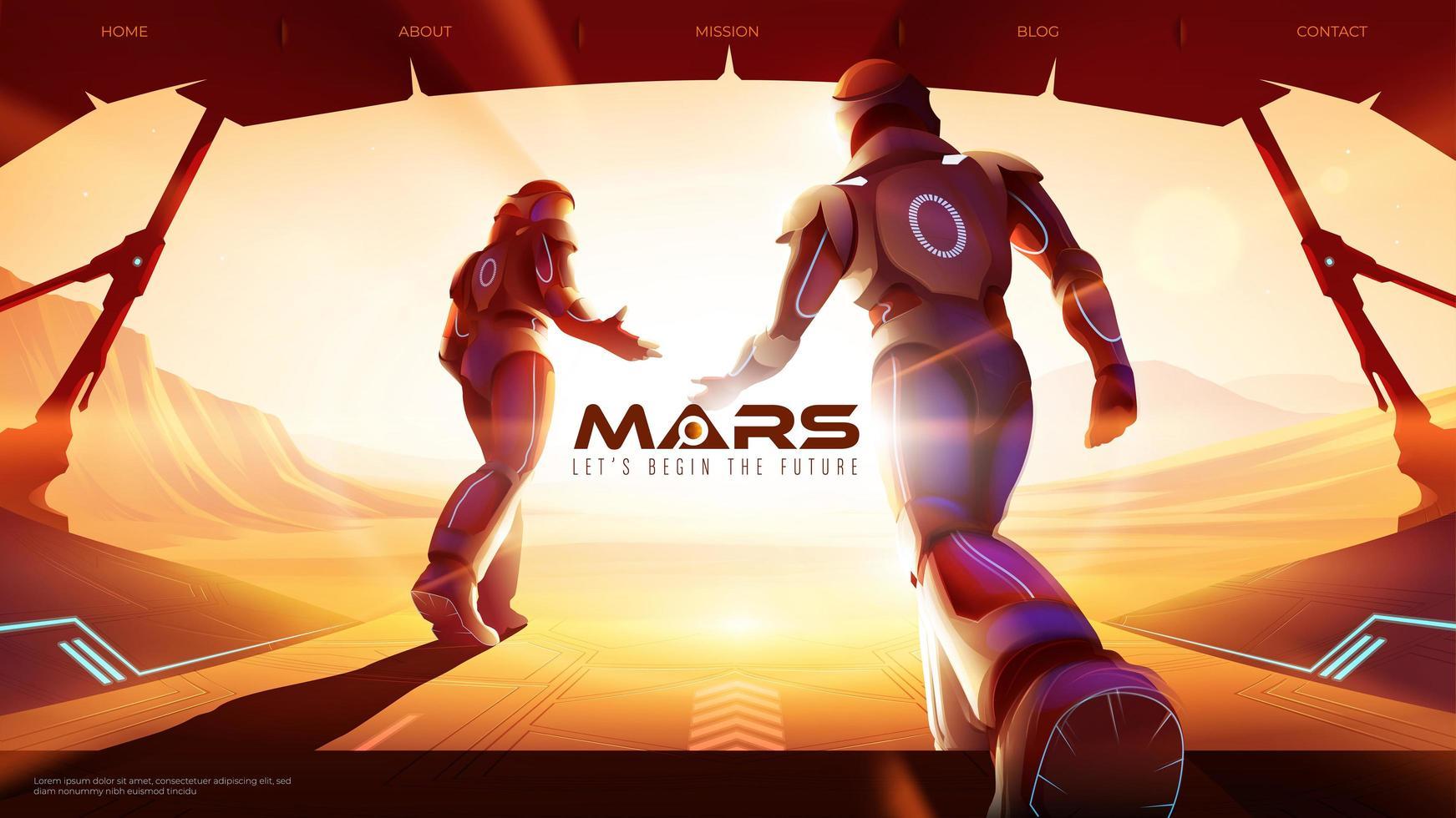 twee astronauten lopen op Mars uit het ruimteschip naar buiten vector