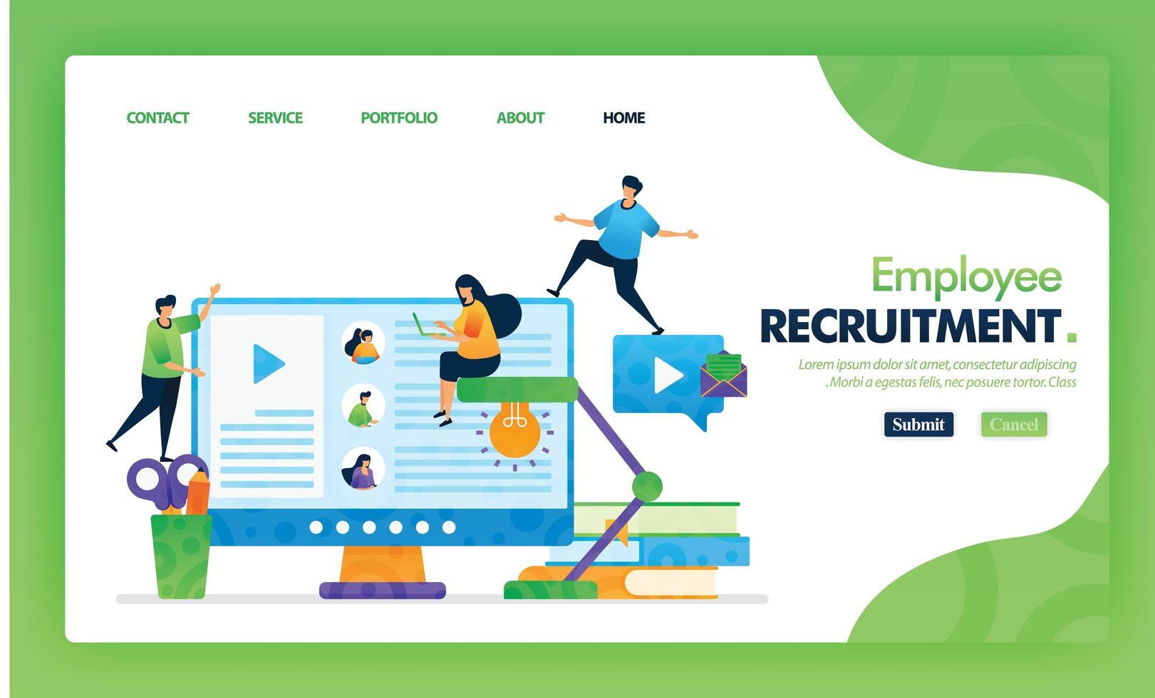 werknemer werving bestemmingspagina groen vector concept met platte stripfiguur en pictogram. startpagina-ontwerp kan worden gebruikt voor bestemmingspagina, web, ui voor mobiele apps, poster, flyer, marketing, promotie.