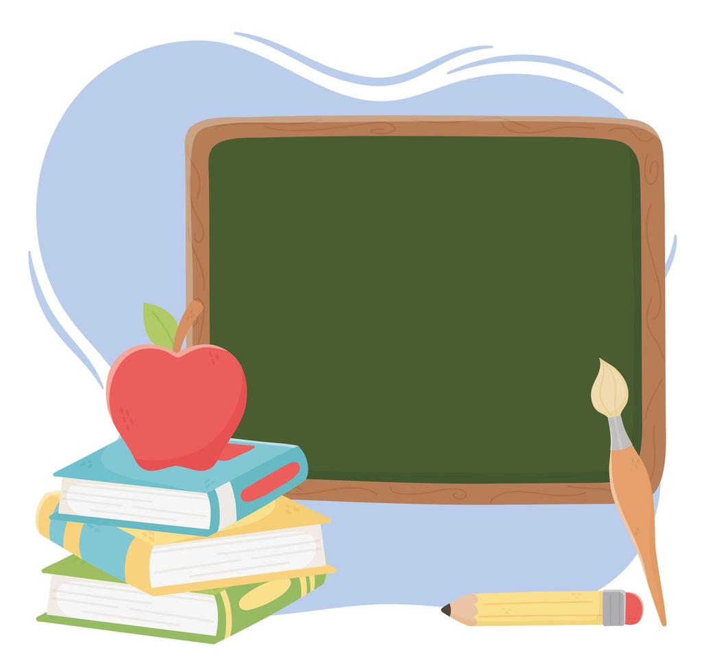 online onderwijs, boeken schoolbord potlood appel op boeken vector