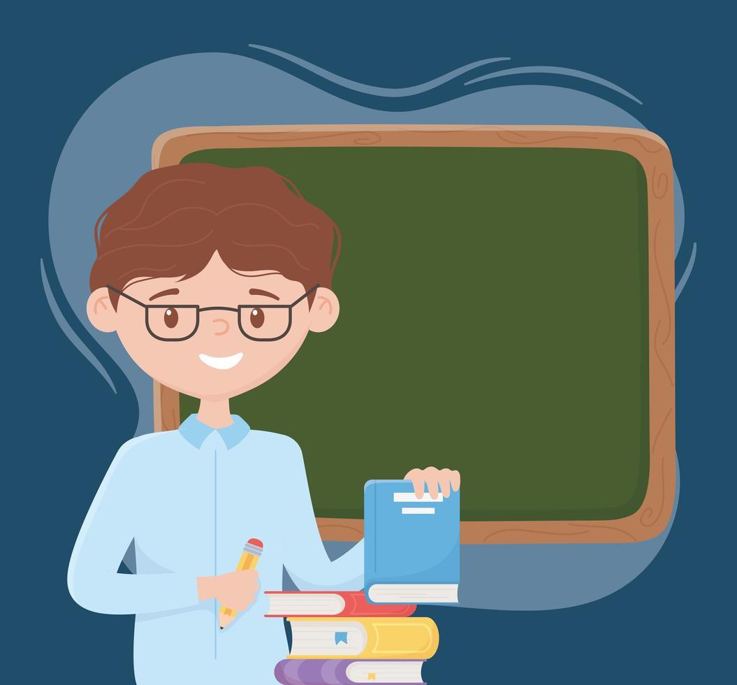 online onderwijs, leraar met potloodboeken en schoolbord vector