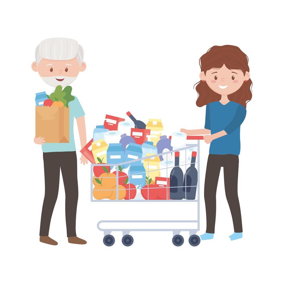 oude man en vrouw die met kar en zak vectorontwerp winkelen vector