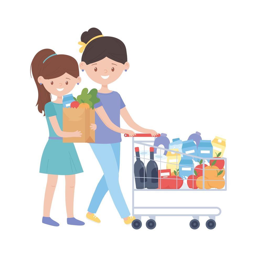 vrouwen die met kar en zak vectorontwerp winkelen vector