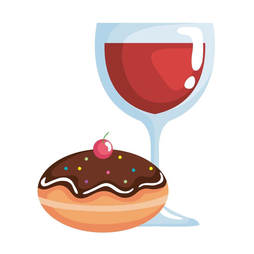 heerlijke joodse zoete donut met chocoladeroom en wijnbeker vector