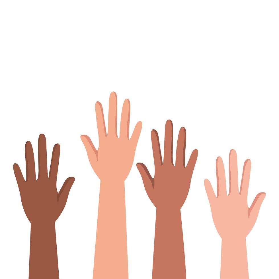 interraciale handen mensen protesteren vector