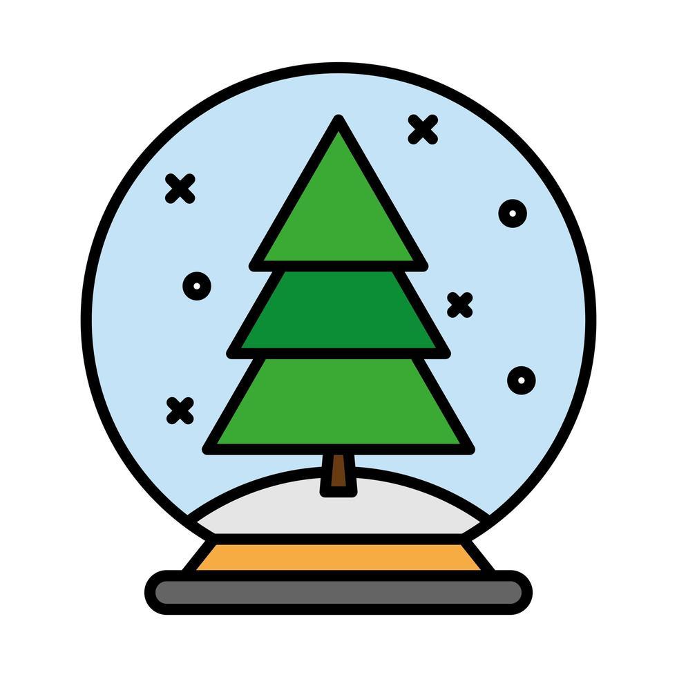 gelukkige vrolijke kerstpijnboom in ballijn en opvulstijlpictogram vector