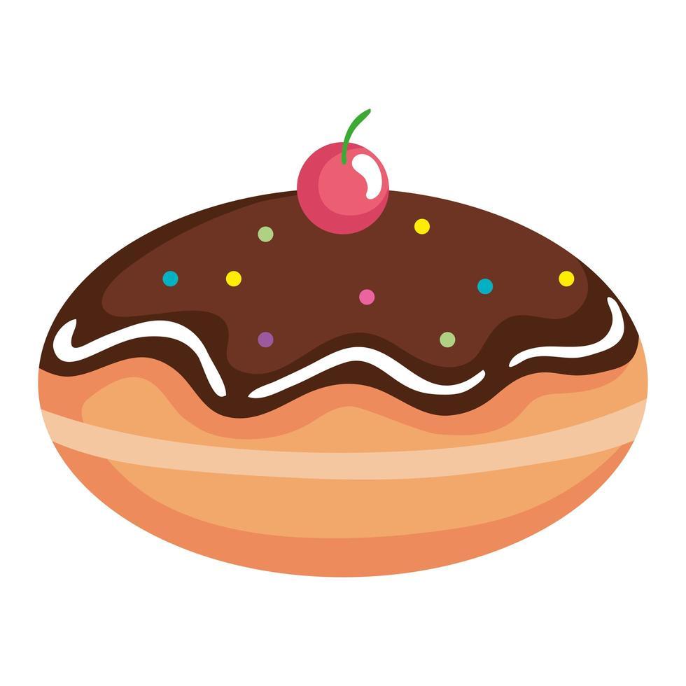 heerlijke joodse zoete donut met chocoladeroom vector