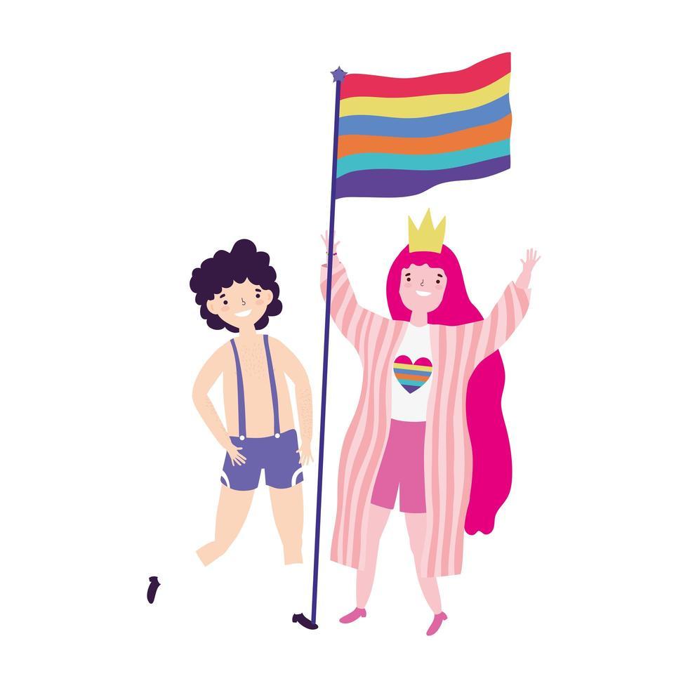 pride-parade lgbt-gemeenschap, homo met kostuumvrouw met kroon en vlag vector