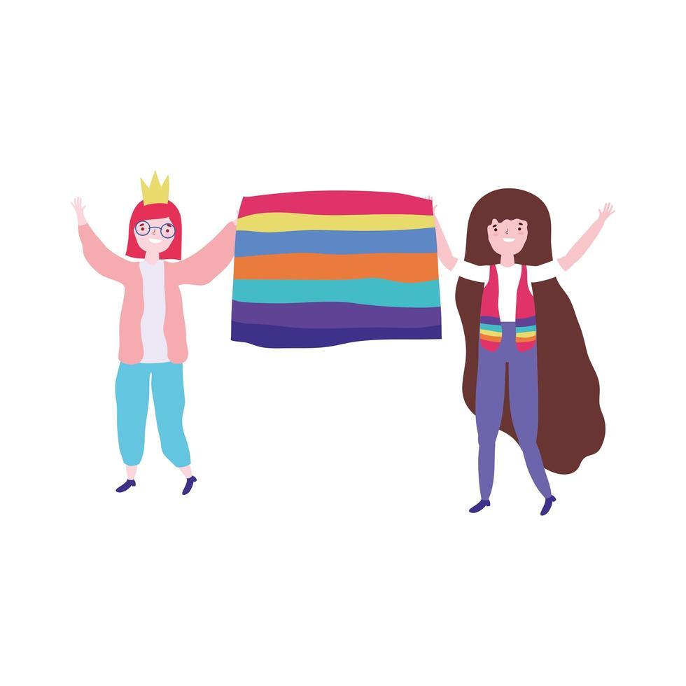 pride-parade lgbt-gemeenschap, mensenbeweging ontmoeting met liefdesvlag vector