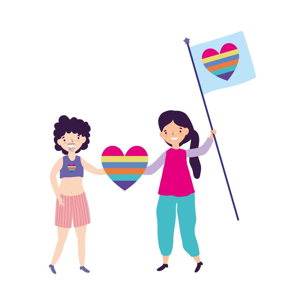 pride-parade lgbt-gemeenschap, man en vrouw met vlag en hartregenboog vector