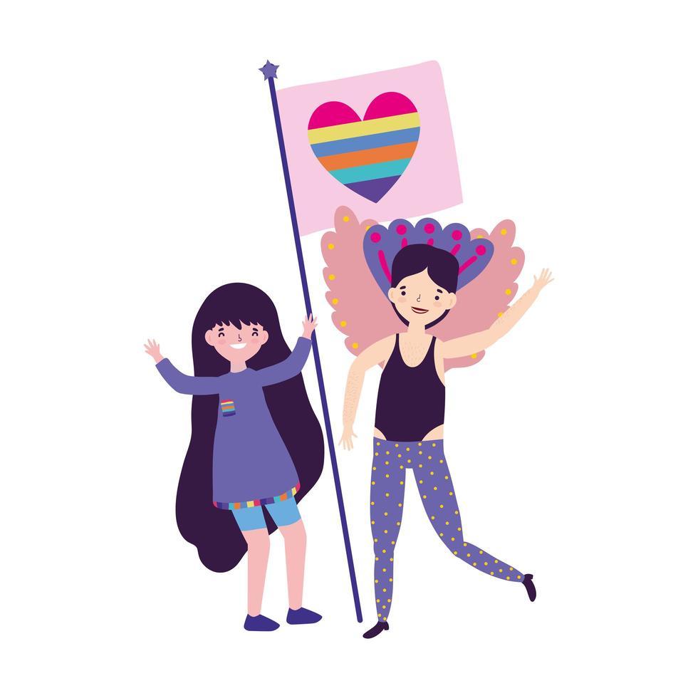 pride parade lgbt-gemeenschap, mensen ontmoeten met hart regenboogvlag vector