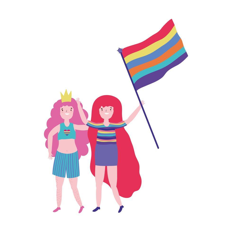 pride-parade lgbt-gemeenschap, jonge vrouwen met kleding en vlag met regenboog vector