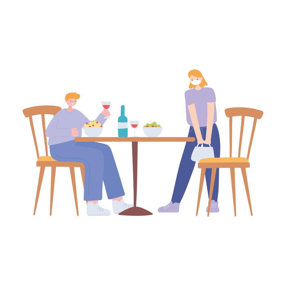restaurant sociale afstand nemen, mensen met eten en drinken op veilige afstand blijven, covid 19 pandemie, preventie van coronavirusinfectie vector