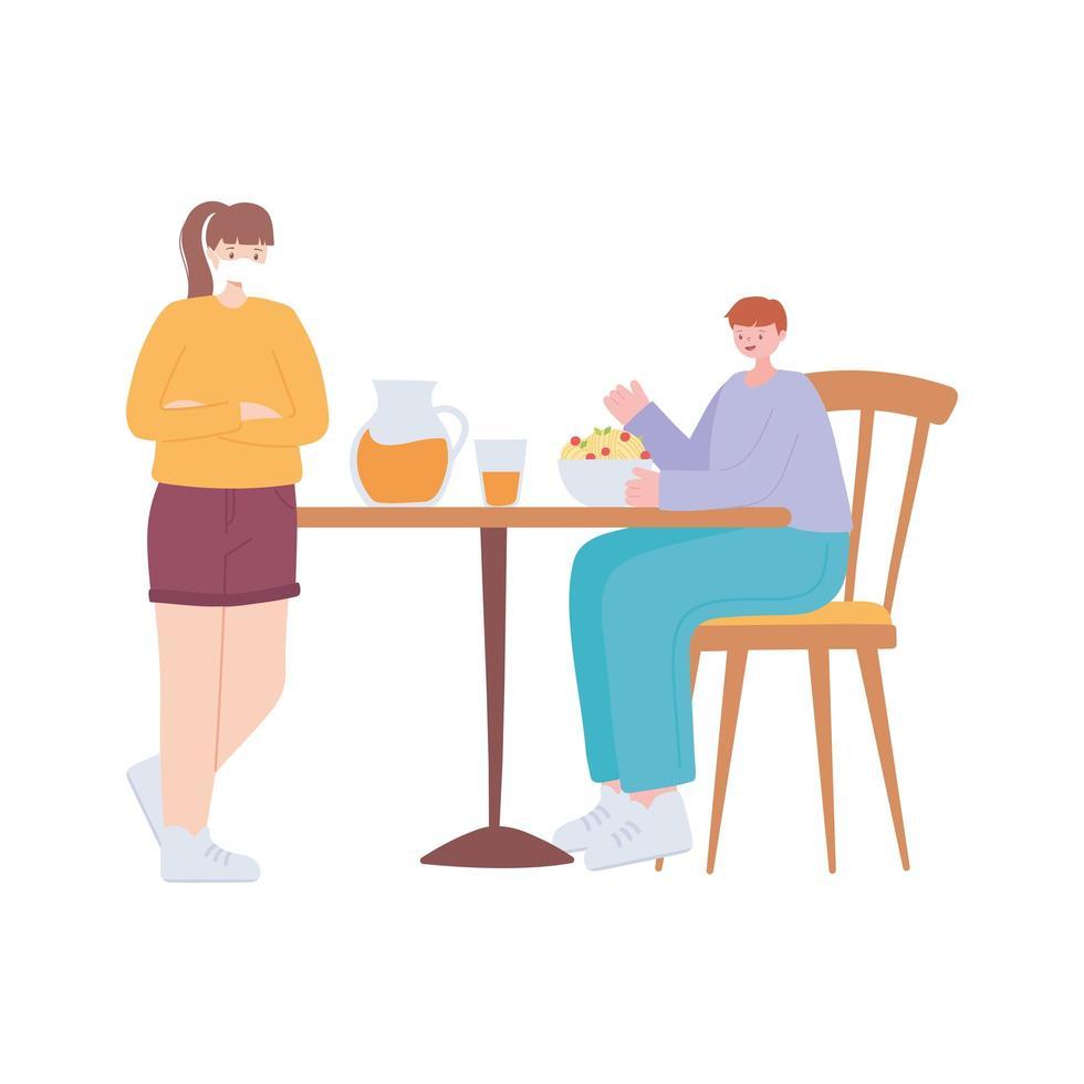 restaurant sociale afstand nemen, afstand om mensen te beschermen tegen coronavirus tijdens voedsel, covid 19 pandemie vector