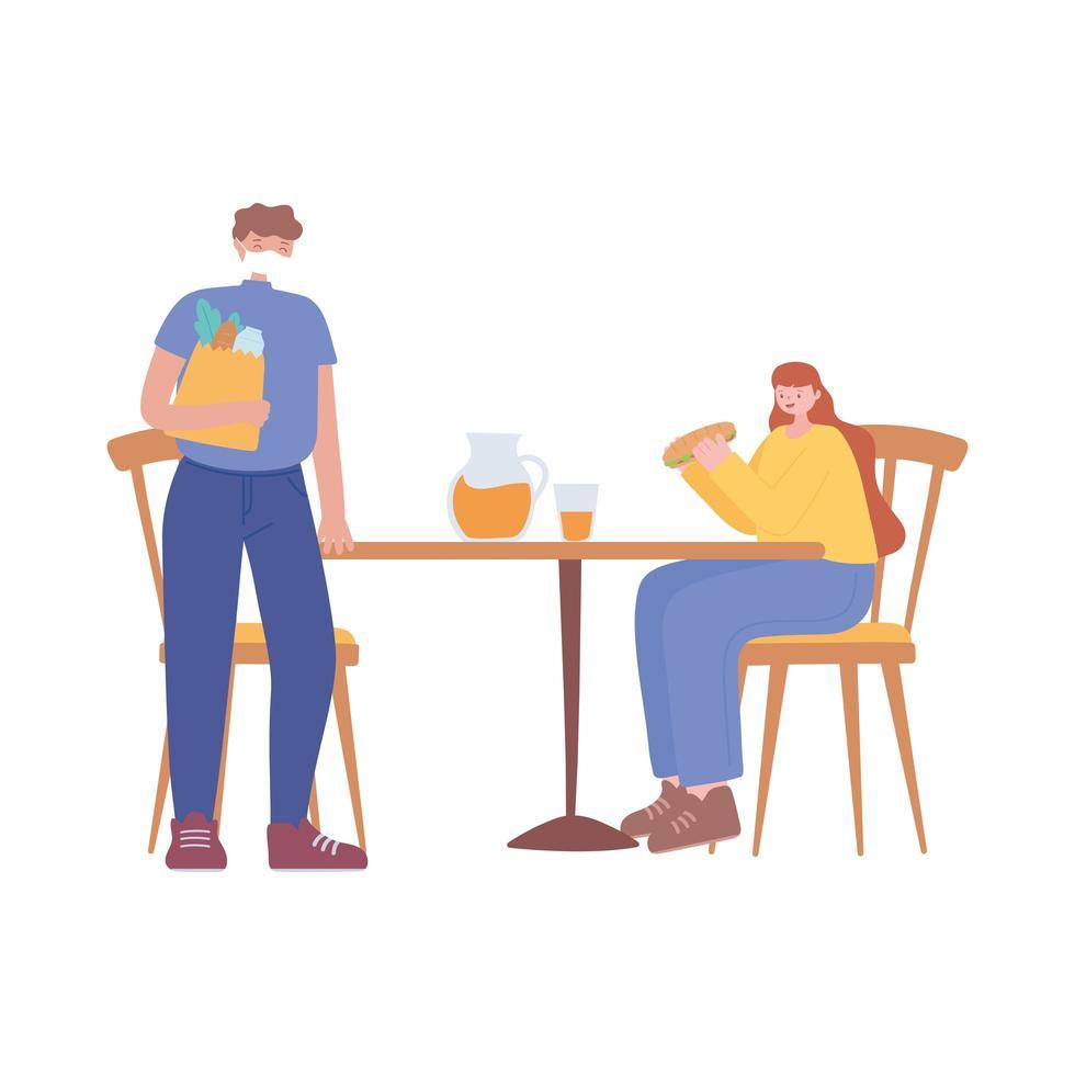 restaurant sociale afstand nemen, man en vrouw afstand van elkaar om het uitbreken van ziekten te voorkomen, covid 19 pandemie vector