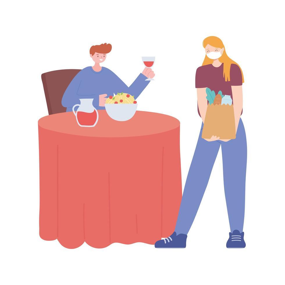 restaurant sociale afstand nemen, man eten en vrouw met boodschappentas afstand van elkaar, covid 19 pandemie vector