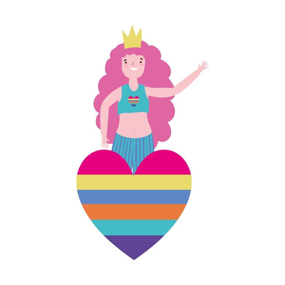 pride-parade lgbt-gemeenschap, jonge vrouw met regenbooghart en kroonviering vector