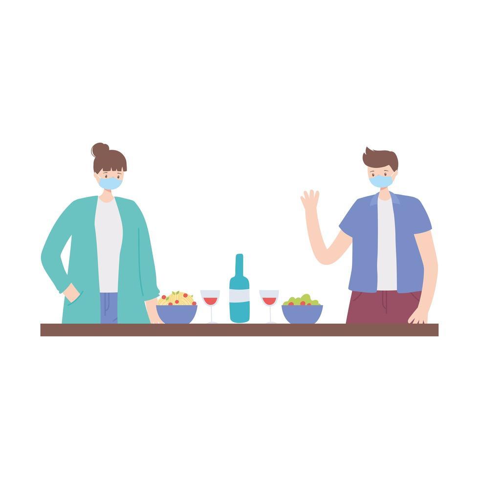 sociale afstand houden, mensen met eten en drinken op veilige afstand houden, covid 19 coronavirus vector