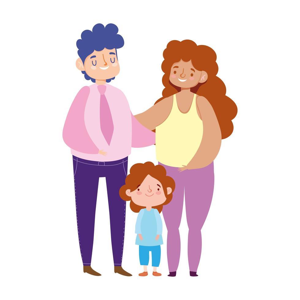 bebaarde vader moeder en zoon permanent, familiedag vector
