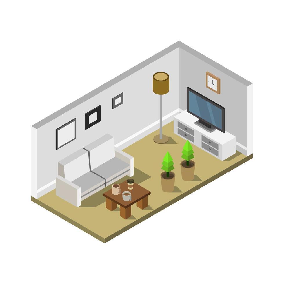 kamer met isometrische televisie in vector op witte achtergrond