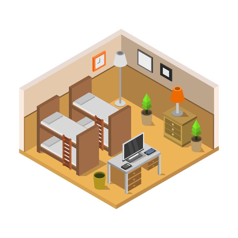 isometrische slaapkamer in vector op witte achtergrond