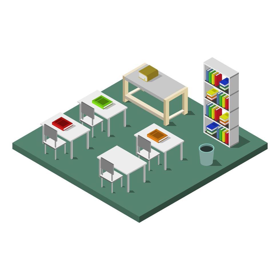 illustratie, achtergrond, kamer, klaslokaal, isometrisch, stoel, set, architectuur, vector, ontwerp, school, wit, modern, gebouw, pictogram, concept, studie, schoolbord, mensen, tafel, grafisch, flat, 3d, bord, stijl, bureau, les, educatief, klas, leraar vector
