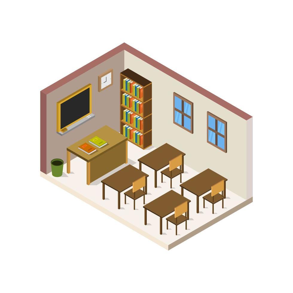 isometrische schoolkamer op witte achtergrond vector