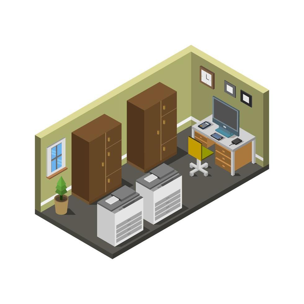 isometrische kantoorruimte in vector op witte achtergrond