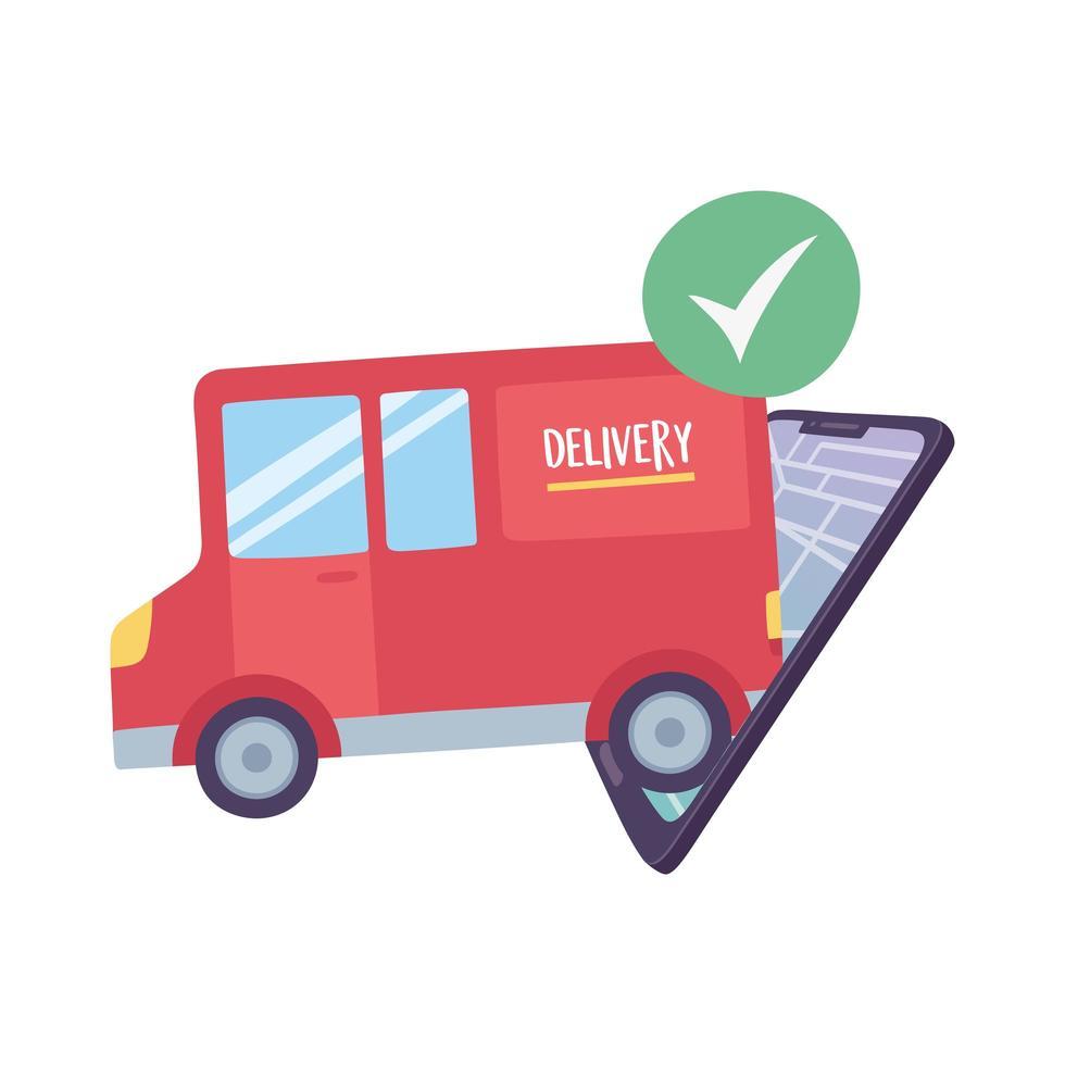covid-19 coronavirus pandemie, bezorgservice, smartphone gps-navigatiekaart vrachtwagenvervoer vector