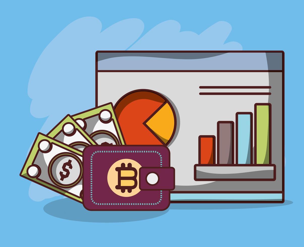 bitcoin bankbiljetten wisselen portemonnee statistieken zakelijk cryptocurrency transactie digitaal geld vector