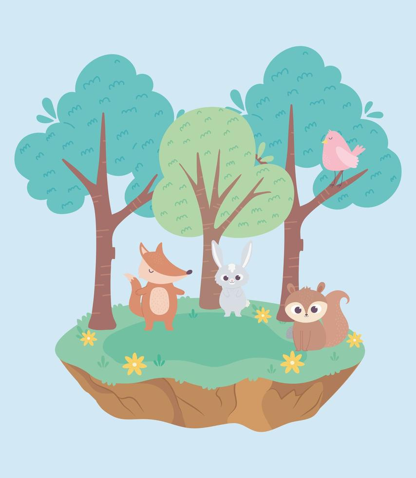 schattige kleine konijn vos vogel en eekhoorn dieren cartoon vector