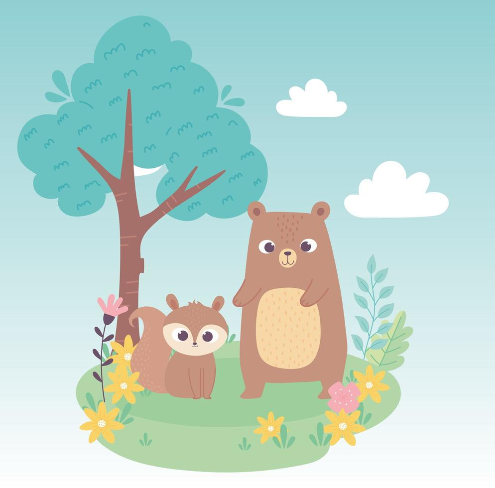 schattige kleine eekhoorn en beer op gras met bloemen en boombeeldverhaal vector
