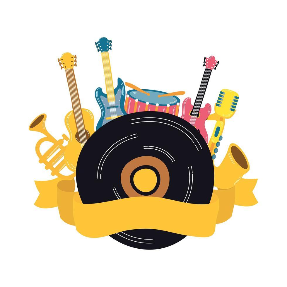 muziek vinyl schijf met instrumenten vector