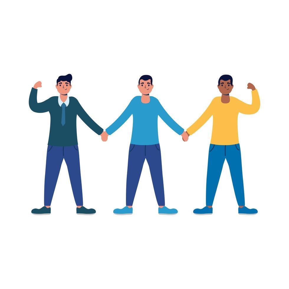 interraciale sterke mannen mannelijke avatars-karakters vector