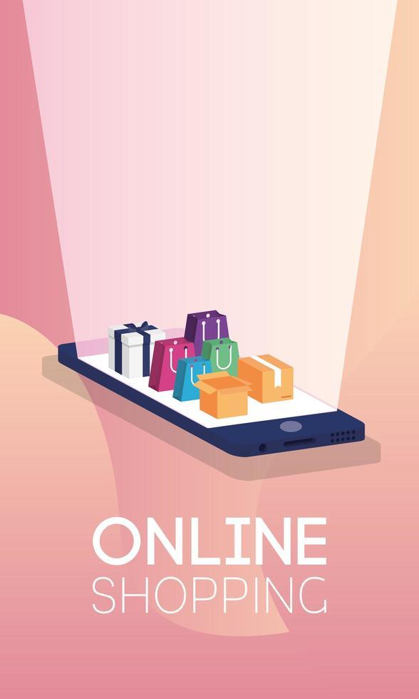online winkelen e-commerce met winkelverpakkingen in smartphone vector