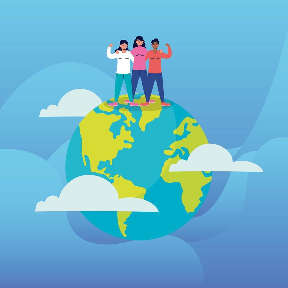groep interraciale jonge vrouwen in de planeet aarde vector
