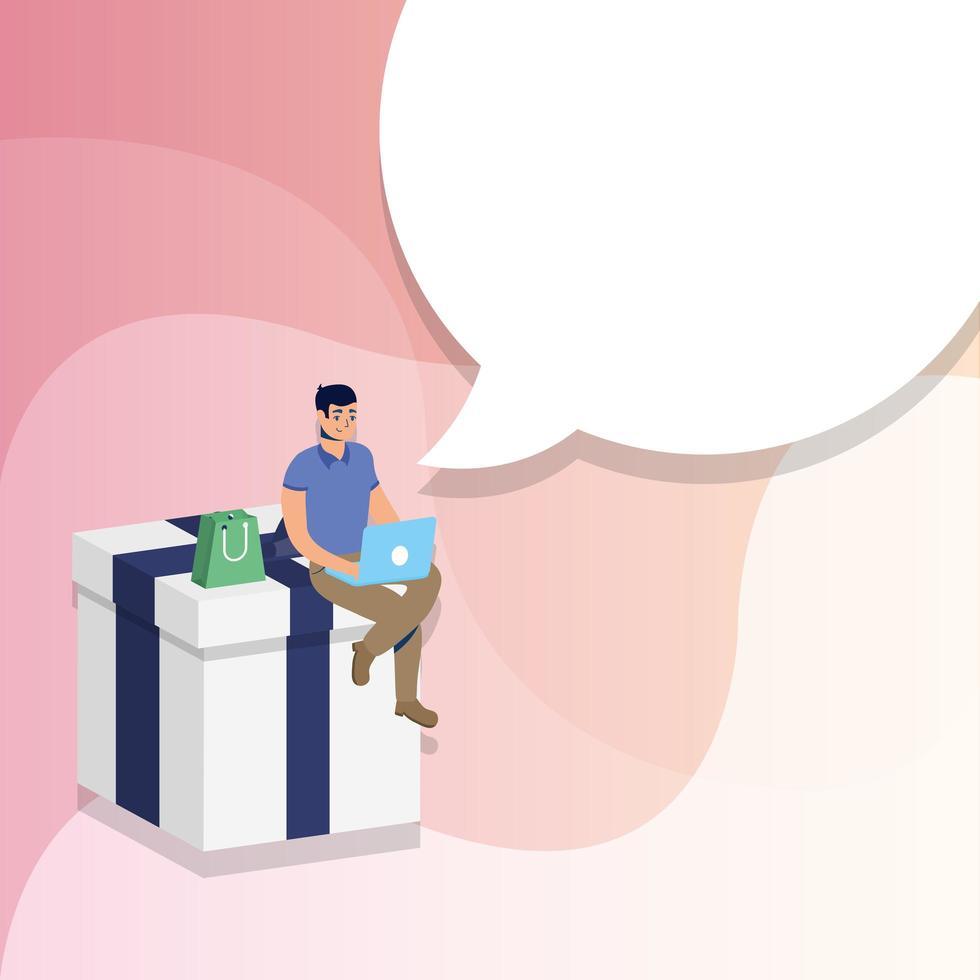 online e-commerce winkelen met man met laptop in cadeau vector