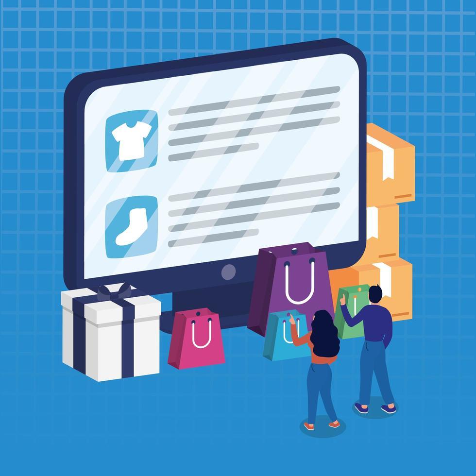 online winkelen e-commerce met paar kopen in desktop vector