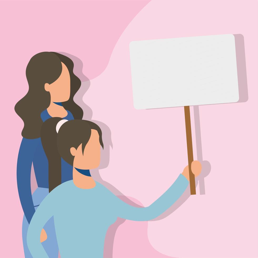 jonge vrouwen protesteren met aanplakbiljet vector