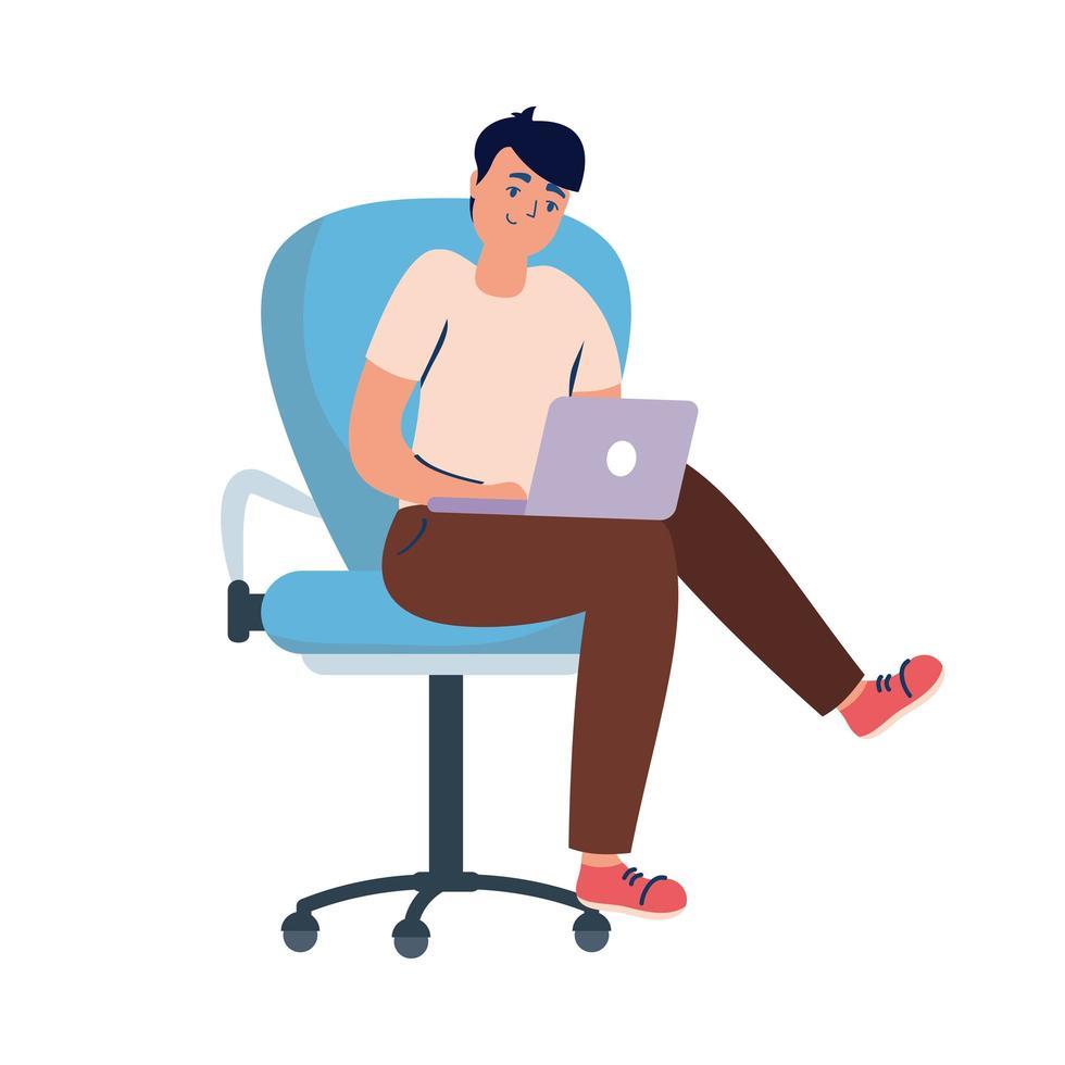 man met laptop op stoel vector ontwerp