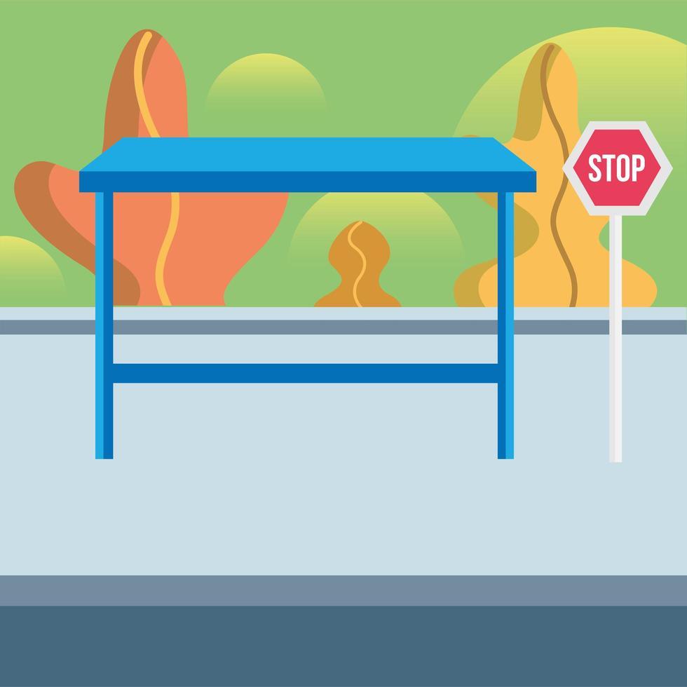 bushalte met verkeersbord vector ontwerp