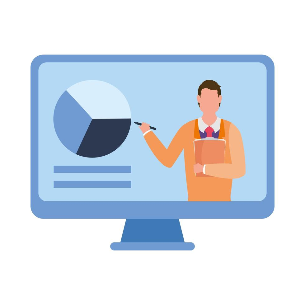 man avatar op computer in videochat vector ontwerp