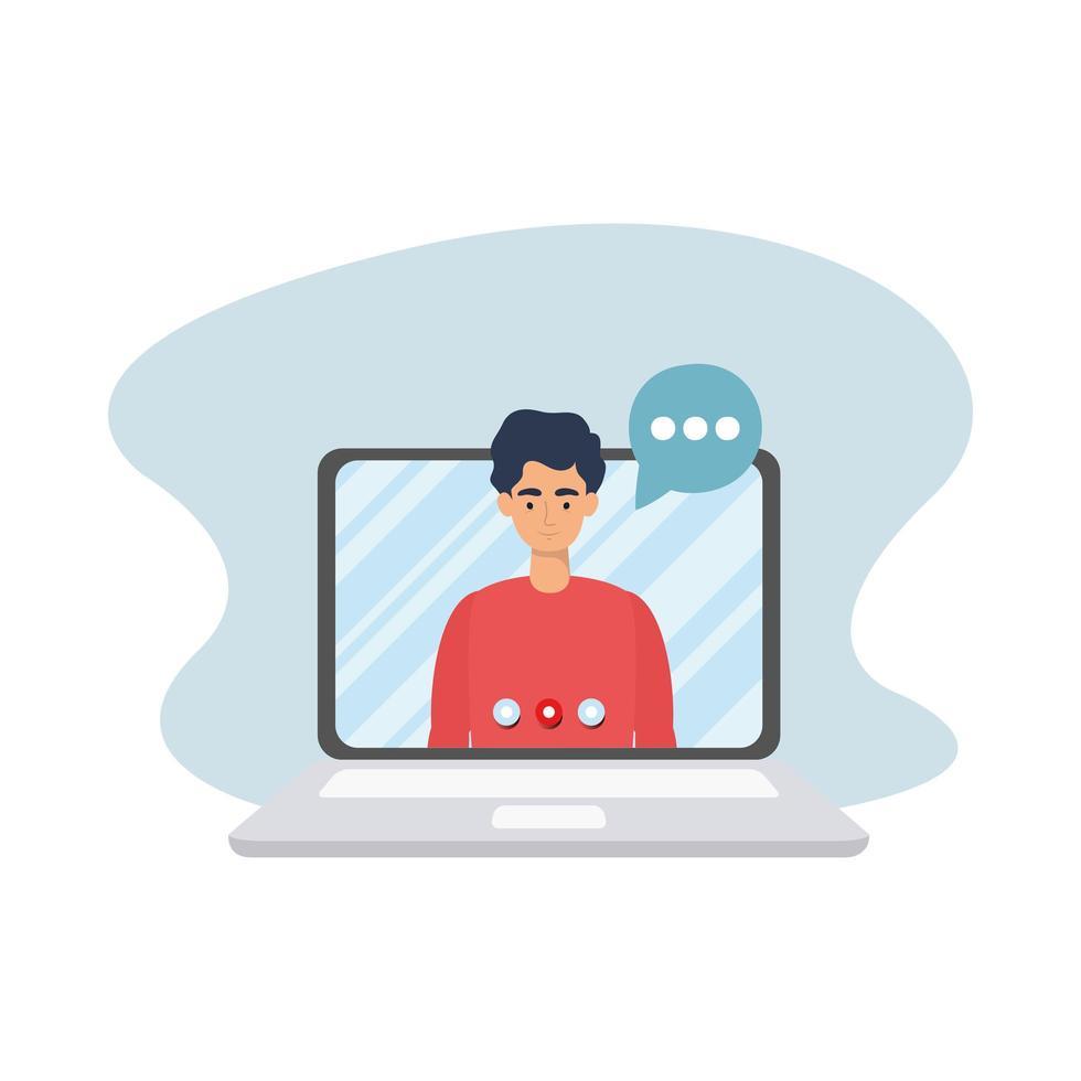 man op laptop met bubble vector design