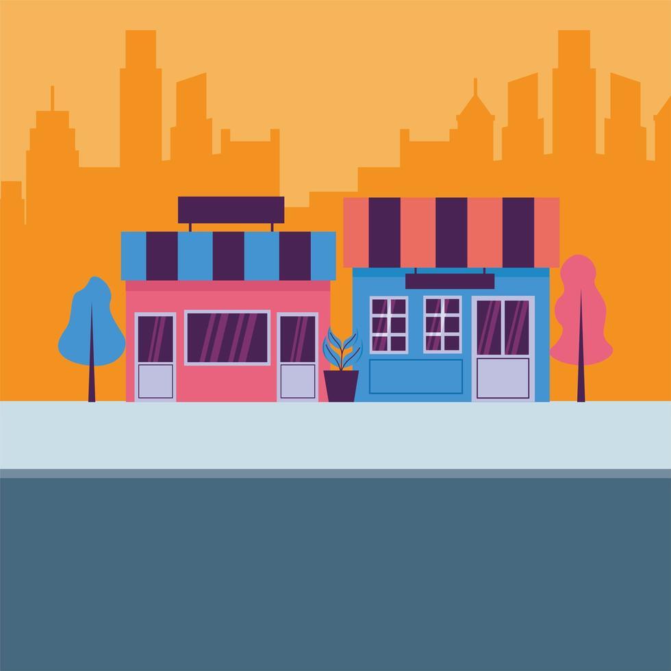 winkels op straat vector ontwerp