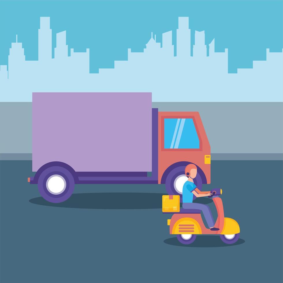 levering motorfiets en vrachtwagen vector ontwerp